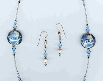 Beautiful Handmade Lampwork & Swarovski Crystal Necklace SET!