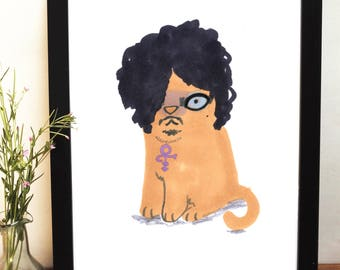 Prince Tribute Illustration Cat In Wig Giclee Print