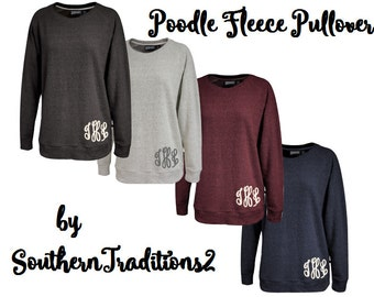 Monogram Poodle Fleece Pullover - Monogrammed Crew Sweatshirt - Personalized Navy, Charcoal, Heather and Burgundy