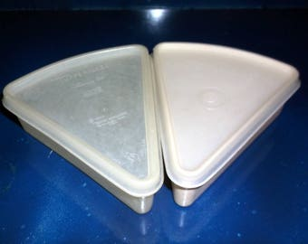 Vintage pair of 2 Tupperware Pie Slice Holders Individual slice carrier Lunch Box