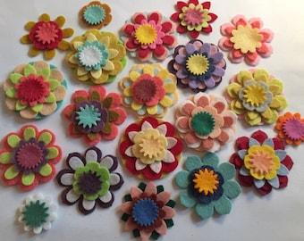 Wool Felt Mix & Match Flowers 80 total - Random Colored *Stock image 4017 - Kids Crafts - Headband - DIY - Daisy - Blossom - Crafting