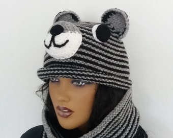 Gray and black color knitting Tiger Hat and cowl