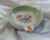 Vintage E&R American Artware Pottery Green Floral Ashtray Gold Trim