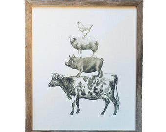 Reclaimed Wood Framed Canvas Print | Stacked Farm Animals | Handmade Gifts under 100
