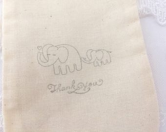 Elephant Bags Thank You Baby Shower Bags Set of 10