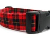 Red and Black Plaid Dog Collar - Macqueen Tartan