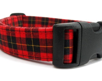 Red and Black Plaid Dog Collar - Macqueen Tartan