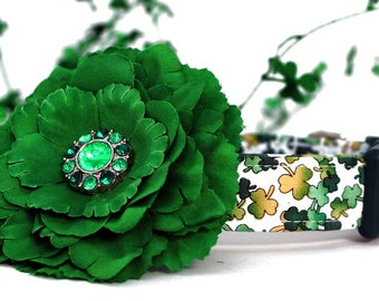 St. Patrick's Day Dog Collar with Emerald Green Flower Accessory
