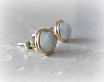 Aquamarine Earrings, Gold Stud Earrings, Natural Stone Posts, Aquamarine Studs, March Birthstone, Gold Filled Studs, Gold Aquamarine