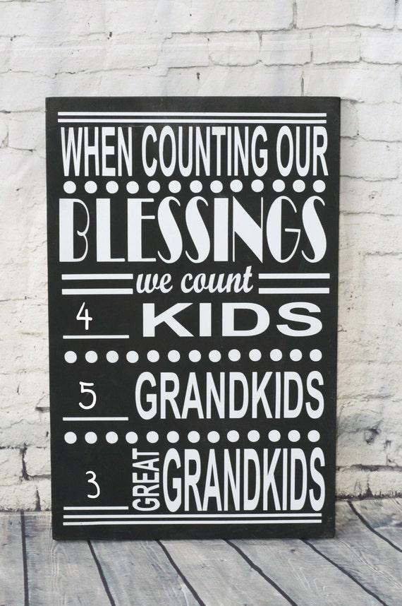 Grandparents Sign, Gift for Grandparent, Grandparent Gift, Grandchild Chart, Christmas Gift, When Counting Blessings, Grandma, Grandpa