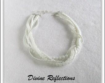 White Gemstone Necklace, Multi Strand Gemstone Necklace, White Jade Necklace, Adjustable