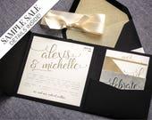 "Black and Gold Wedding Invitations, B'not Mitzvah Invitation, Glitter Party Invitation, Pocketfold Invitations - ""Playful Calligraphy"" PF-NL"