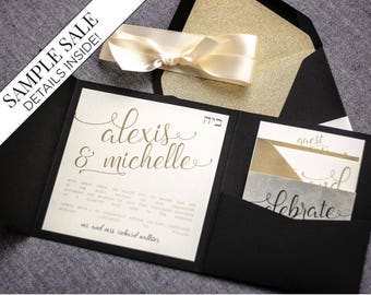 "Black and Gold Wedding Invitations, B'not Mitzvah Invitation, Glitter Party Invitation, Pocketfold Invitations - ""Playful Calligraphy"" PF-NL"