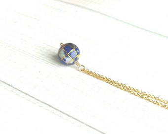 Wanderlust Necklace - 14K gold fill chain - tiny lapis lazuli blue gemstone world globe pendant - Earth charm travel graduate friend moving