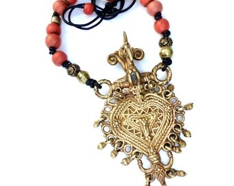 C684E Antique Brass Elephant Trapping, Vintage Chinese Orange Glass Necklace