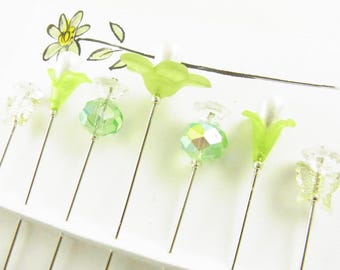 Fancy Sewing Pins Green Daisy with Butterflies