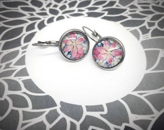 round leverback earring 12mm, pink flower, photograph of a tapestry in a castle in France, stainless steel studs