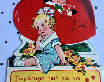Vintage Valentine From Germany Boy an Girl Adorable