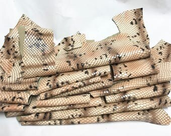 16 Scrap Leather Remnants Lot Tan Snake Python Embossed Leather Cowhide Scraps