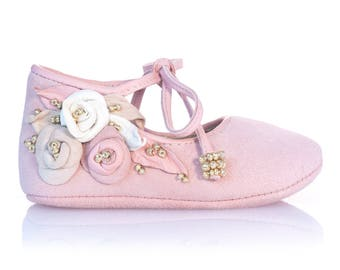 Pink Gold Baby Shoes Girl Baby Moccasins Newborn Shoes Baby Shower Gift Baby Shoes Pink Gold Baby Shoes Christening Baby Shoes by Vibys
