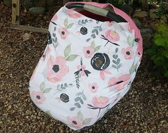 Baby Car Seat Canopy - Stretchy Car Seat Cover - Nursing Poncho - Pink Black Floral Baby Cover - Baby Shower Gift - Multi Purpose Baby Cover