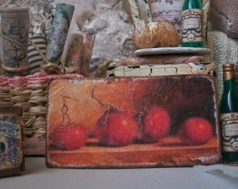 Tomatoes Still Life Antique Painting Miniature 1:12 Dollhouse Scale Cottage Shabby Chic Garden Italian Rennaisance Classic 18th Century Oil