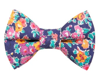 "Cat Bow Tie - ""The Caturday Vibes"" - Liberty of London Floral Fabric"