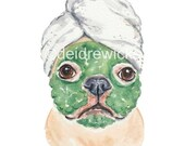 Dog Watercolor - 8x10 Painting PRINT, French Bulldog, Funny Dog Art, Animal Watercolour