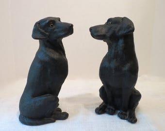 """1992 Universal Statuary Pair of Black Labrador Dogs #5008  6.75""""H"""