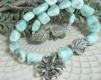Larimar Polished Nuggets with Sterling Dogwood Flower, Leaf and Clasp Necklace