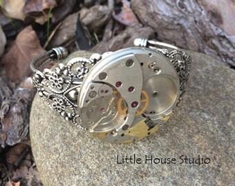 Steampunk, bracelet, Steampunk Bracelet, Watch face, Watch Face Bracelet, Victorian, Watch, Antique, Gears, Gift for Her, Steampunk Cuff