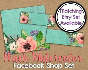 Peach Watercolor Facebook Shop Set - Watercolor Flower Facebook Set - DIY Facebook Timeline - Watercolor Timeline Set - Facebook Shop Banner