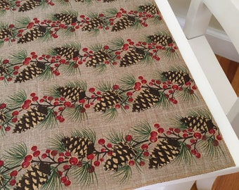 Christmas Burlap Table Runner | Burlap Look Table Runner | PineCone Table Runner | Pine Cone Table Runner | Christmas Centerpiece