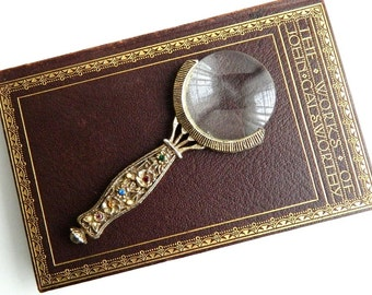 "Vintage Victorian Brass Hand Magnifying Glass - Jeweled Rhinestone Magnifier - Etched Flowers - 5 "" Long"
