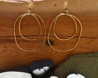 18k yellow gold double organic hoop earrings