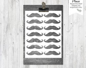 Mustache Templates | Instant Download | Collage Sheet | Templates | Party Props | 2 PNG Files