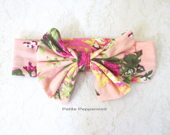 Pink Floral Baby headband, baby girl headband, baby head wrap, toddler headband,Baby girl head band, Baby Hair Bow, baby headband bow
