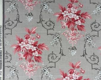 Panier de Fleurs red bouquets on gray French General moda fabrics FQ