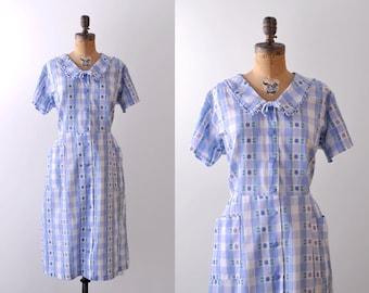50's blue plaid dress. gingham. 1950's xl dress. cotton pastel blue & white. floral.