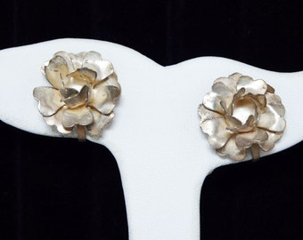 Sterling Silver Rose Earrings - Screwback Earrings - Mexican Silver Flowers - Signed  Mexico Silver - Vintage