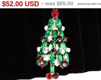 Vintage Christmas Tree Brooch - Dangling Crystal Rhinestones - Green Marquis Rhinestones - Red Chatone Rhinestones, Winter Holiday Pin