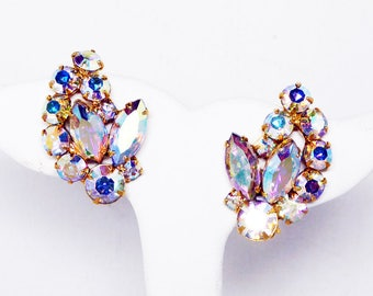 Vintage Aurora Borealis Rhinestone Earrings - Clip ons w/ AB Rhinestones - Vintage 1950's Gold Tone Settings - Prong Set Chatons and Marquis