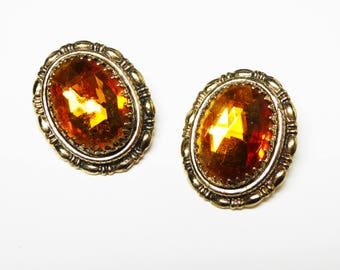 Yellow Topaz Glass Clip on Earrings - Signed Whiting & Davis - Faeted Topaz Gold Tone Oval Settings -  1960s 1970s Vintage Costume Jewelry