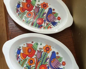 Royal Crown Porcelain Ovenware Paradise #3696 Porcelain Serving Bowls Set of 2 Mod Bold Graphics Partridges and MOD Floral Pattern Japan