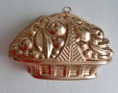 Vintage Copper Mirro Jello Mold Fruit Basket Made in USA 3 1/2 Cup