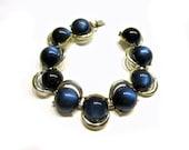 "Vintage Blue Moonglow Bracelet 7"" Glowing Blue Moon Glow Iridescent Cabochon Bracelet Under 15 Wedding Bracelet Gift Idea"