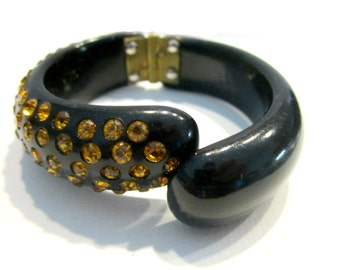 Vintage Black Gold Rhinestone Clamper Bracelet Old Clamp Cuff Embedded Rhinestones Small Overdyed Bracelet Gift Idea Collectible Jewelry