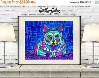 50% Off Today- Russian Blue Cat Art Poster Print of painting by Heather Galler (HG808)