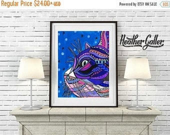 50% Off Today- Cat Art Print Poster by Heather Galler (HG7657)