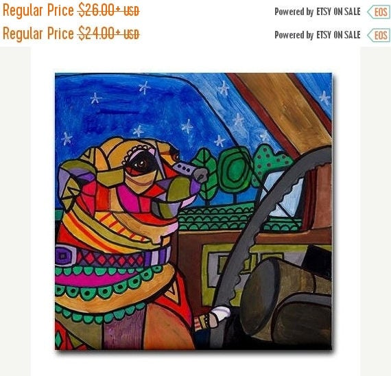 50% Off Today- Chihuahua art Tile Ceramic Coaster Mexican Folk Art Print of painting by Heather Galler Dog